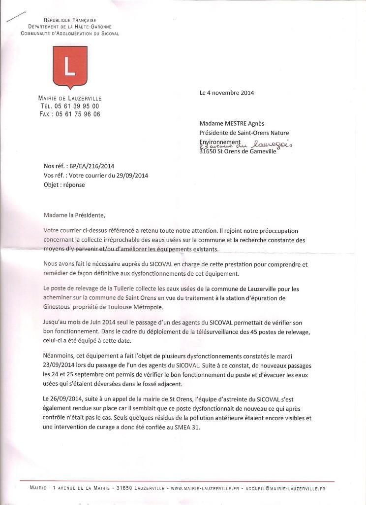 Réponse Mairie LAUZERVILLE